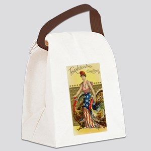 Vintage Thanksgiving American Gre Canvas Lunch Bag