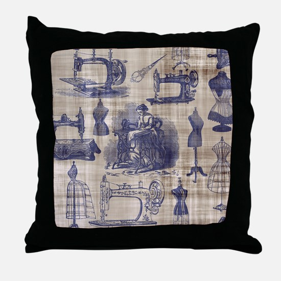 Vintage Sewing Toile Throw Pillow