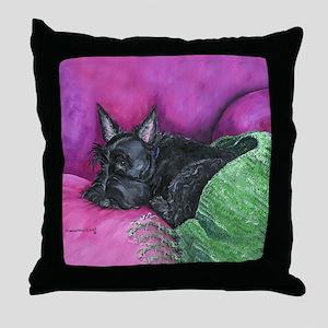Napping Scottie Throw Pillow
