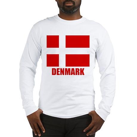 """Danish Flag """"Denmark"""" Long Sleeve T-Shirt"""