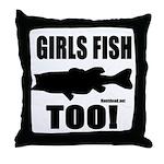 Girls Fish Too Throw Pillow