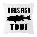 Girls Fish Too Woven Throw Pillow