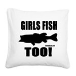 Girls Fish Too Square Canvas Pillow