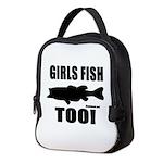 Girls Fish Too Neoprene Lunch Bag