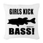 Girls Kick Bass Woven Throw Pillow