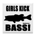 Girls Kick Bass Tile Coaster