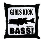 Girls Kick Bass Throw Pillow
