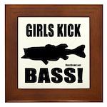 Girls Kick Bass Framed Tile
