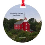 Marquette Harbor Lighthouse Aluminumround Ornament