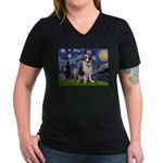 Starry / Saint Bernard Women's V-Neck Dark T-Shirt