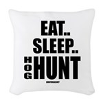 Eat, Sleep, Hog Hunt Woven Throw Pillow