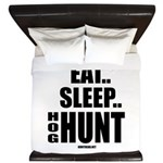 Eat, Sleep, Hog Hunt King Duvet