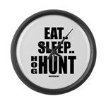 Eat, Sleep, Hog Hunt Large Wall Clock