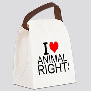 I Love Animal Rights Canvas Lunch Bag
