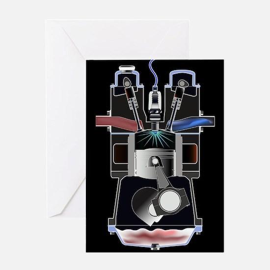 Four Stroke Petrol Engine Greeting Cards