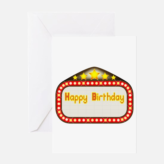 Happy Birthday Theatre Marquee Greeting Cards