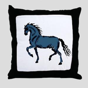 Baroque Horse Woodblock Throw Pillow