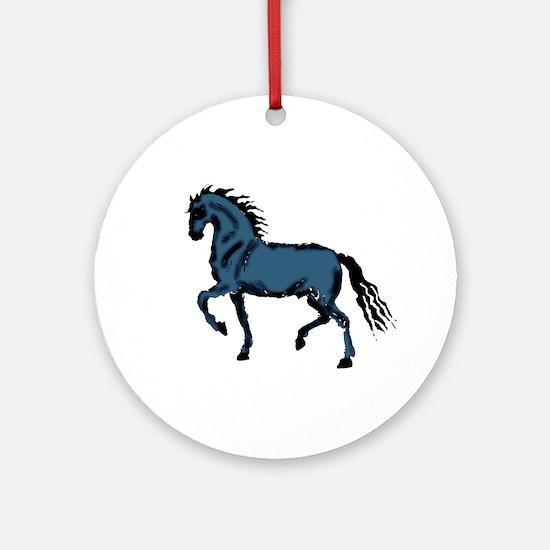 Baroque Horse Woodblock Ornament (Round)
