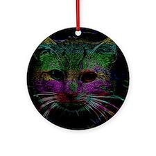 Colorful Cat Black Velvet Ornament (Round)