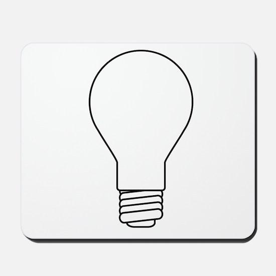 White Lightbulb Outline Mousepad