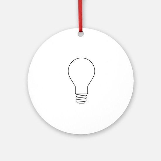 White Lightbulb Outline Round Ornament
