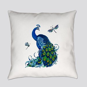 Blue Peacock and Dragonflies Everyday Pillow