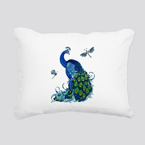Blue Peacock and Dragonf Rectangular Canvas Pillow