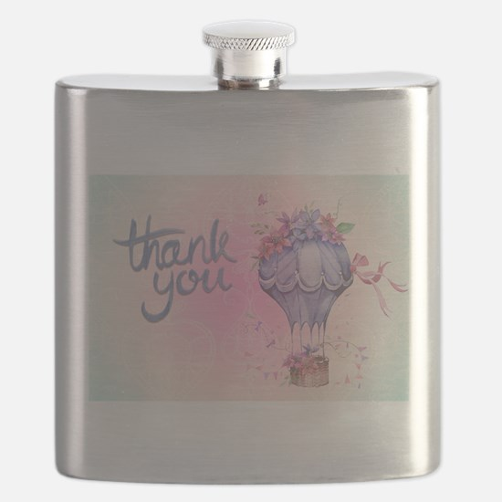 Vintage Thank You Hot Air Balloon Flask