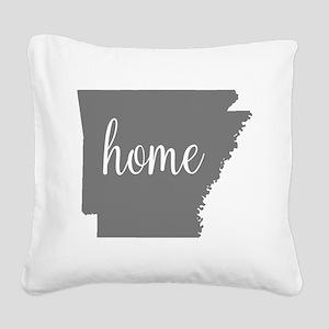 Arkansas Home Square Canvas Pillow
