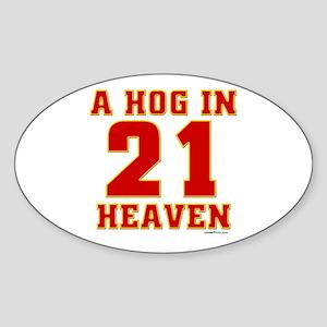 (21) A HOG IN HEAVEN Oval Sticker