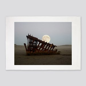 Full Moon Over Peter Iredale 5'x7'Area Rug