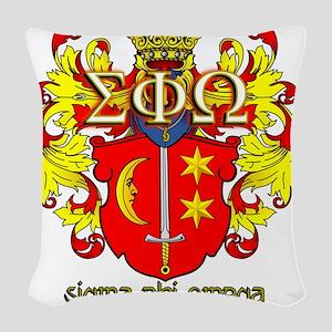 Sigma Phi Omega Crest Woven Throw Pillow