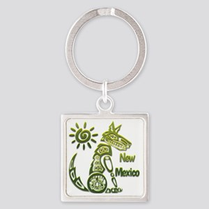 NM Coyote Spiral Sun Green Square Keychain