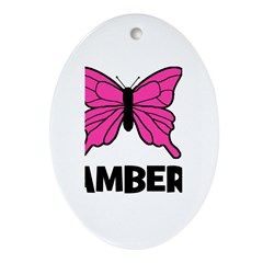 Butterfly - Amber Oval Ornament