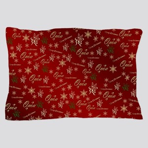 oma merry christmas golden text elegan Pillow Case