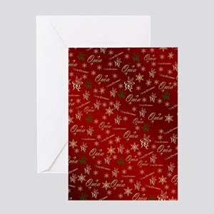 oma merry christmas golden text ele Greeting Cards