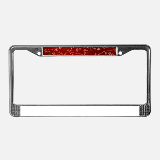 oma merry christmas golden tex License Plate Frame