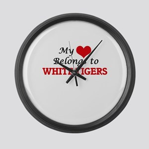 My heart belongs to White Tigers Large Wall Clock