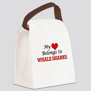My heart belongs to Whale Sharks Canvas Lunch Bag