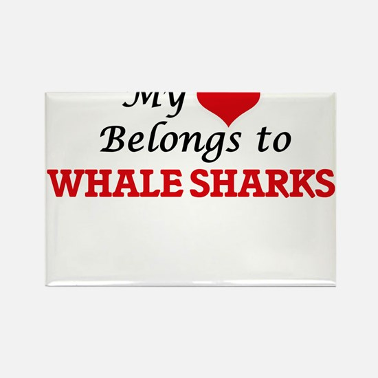 My heart belongs to Whale Sharks Magnets