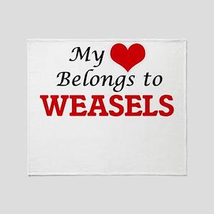 My heart belongs to Weasels Throw Blanket