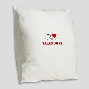 My heart belongs to Tarantulas Burlap Throw Pillow
