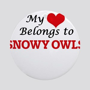 My heart belongs to Snowy Owls Round Ornament
