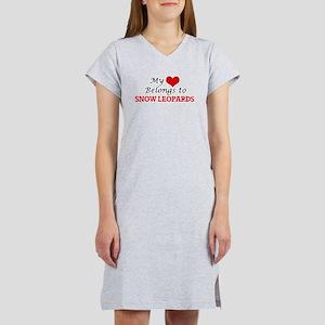 My heart belongs to Snow Leopar Women's Nightshirt