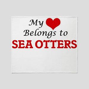 My heart belongs to Sea Otters Throw Blanket