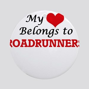 My heart belongs to Roadrunners Round Ornament