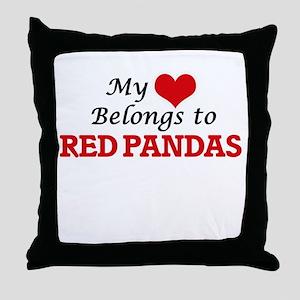 My heart belongs to Red Pandas Throw Pillow