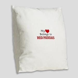 My heart belongs to Red Pandas Burlap Throw Pillow