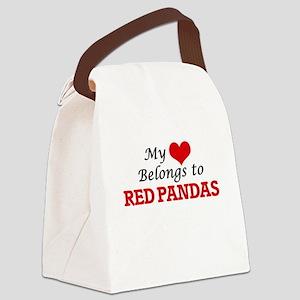 My heart belongs to Red Pandas Canvas Lunch Bag