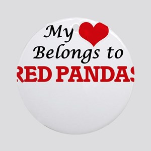 My heart belongs to Red Pandas Round Ornament